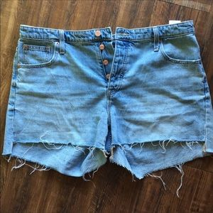 NWOT GAP Distressed Button Fly Shorts 14/32
